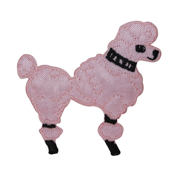 ID 2737A Pink Poodle Patch Fluffy Dog Pet Fancy Embroidered Iron On Applique