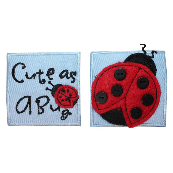 ID 1716AB Set of 2 Ladybug Badge Patch Garden Bug Embroidered Iron On Applique