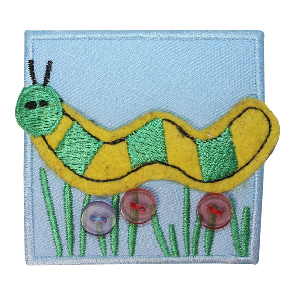ID 1719B Caterpillar Bug Badge Patch Garden Insect Embroidered Iron On Applique
