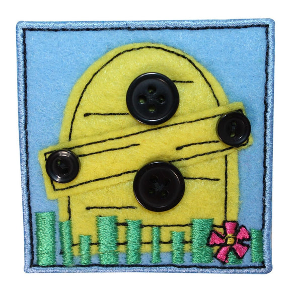 ID 1720B Bee Hive Badge Patch Felt Button Craft Embroidered Iron On Applique