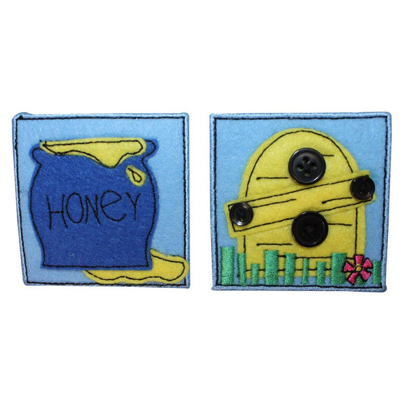 ID 1720AB Set of 2 Bee Hive Honey Patches Felt Embroidered Iron On Applique