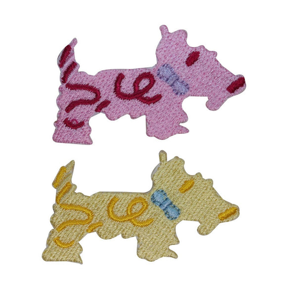 ID 2844AB Set of 2 Scottish Terrier Patches Dog Pet Embroidered Iron On Applique