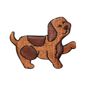 ID 2846C Cute Spotted Puppy Walking Patch Pet Dog Embroidered Iron On Applique