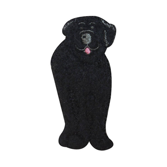 ID 2862A Fluffy Black Dog Patch Furry Pet Animal Embroidered Iron On Applique