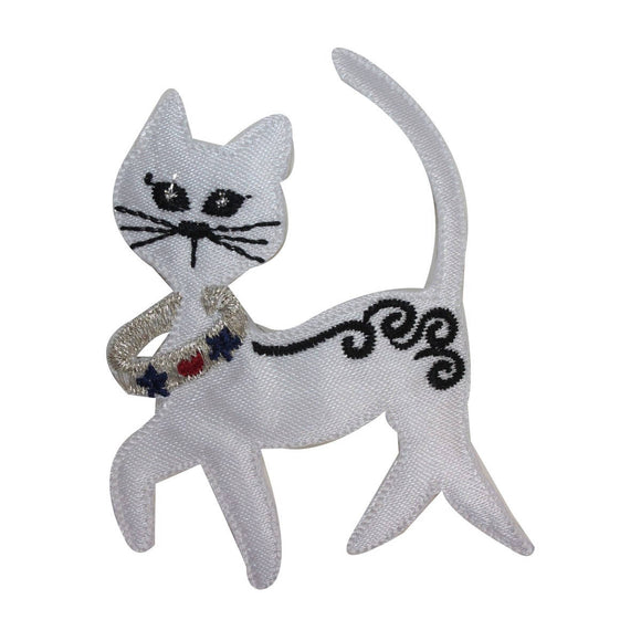 ID 2876 Fancy Cat With Collar Patch Kitty Kitten Embroidered Iron On Applique