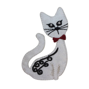 ID 2878 Fancy Cat Sitting Patch Kitty Kitten Pet Embroidered Iron On Applique