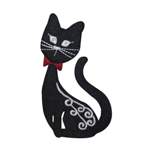 ID 2884 Fancy Black Cat Patch Kitty Kitten Pet Embroidered Iron On Applique