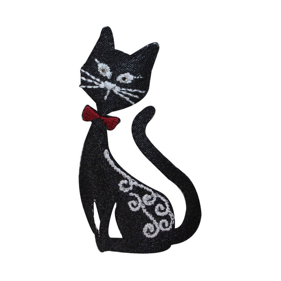 ID 2887 Fancy Black Cat Sitting Patch Kitty Kitten Embroidered Iron On Applique