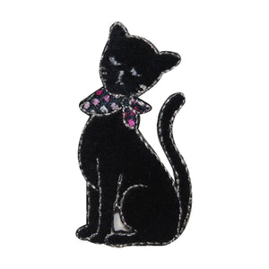 ID 2891 Black Cat With Bandana Patch Kitty Kitten Embroidered Iron On Applique