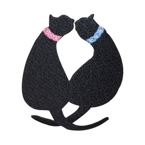 ID 2899 Pair of Black Cats Kissing Patch Kitten Love Embroidered IronOn Applique