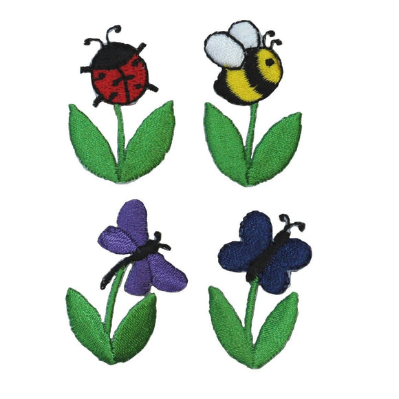 ID 1607ABCD Set of 4 Bug On Flower Patches Garden Embroidered Iron On Applique