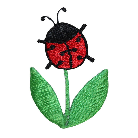 ID 1607A Ladybug On Flower Patch Garden Insect Bug Embroidered Iron On Applique
