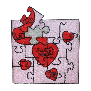 ID 3229 Valentines Day Puzzle Patch Heart Love Piece Embroidered IronOn Applique