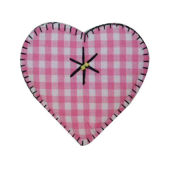 ID 3233 Plaid Heart Patch Valentines Day Love Knit Embroidered Iron On Applique