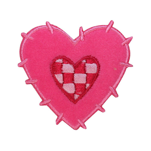 ID 3241 Fluffy Checkered Heart Patch Valentines Day Embroidered Iron On Applique