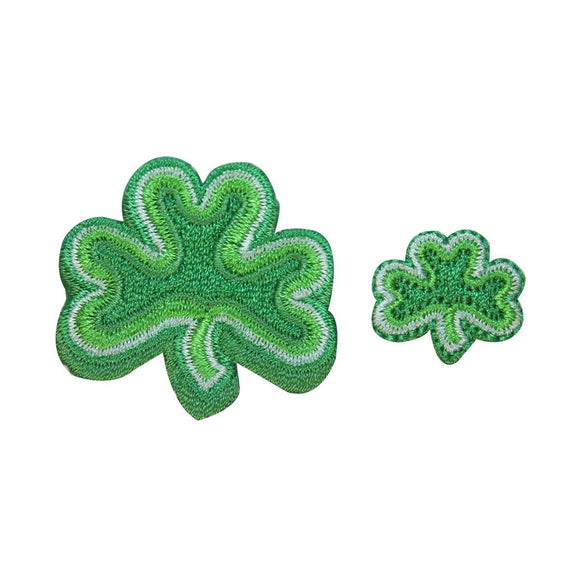ID 3309AB Set of 2 Three Leaf Clover Patches Lucky Embroidered Iron On Applique