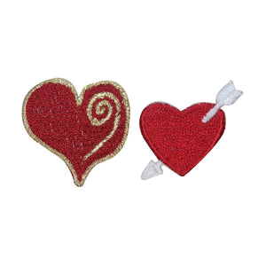 ID 3254AB Set of 2 Love Heart Patch Valentines Day Embroidered Iron On Applique