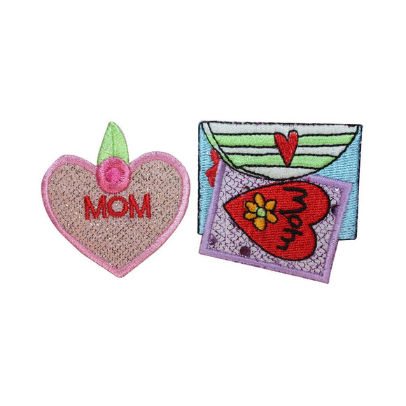 ID 3257AB Set of 2 Mom Valentines Patch Love Day Embroidered Iron On Applique
