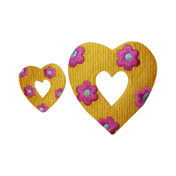 ID 3258AB Set of 2 Floral Heart Patches Valentines Embroidered Iron On Applique