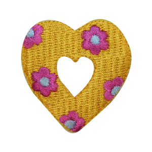 ID 3258B Flower Covered Heart Patch Valentine Day Embroidered Iron On Applique