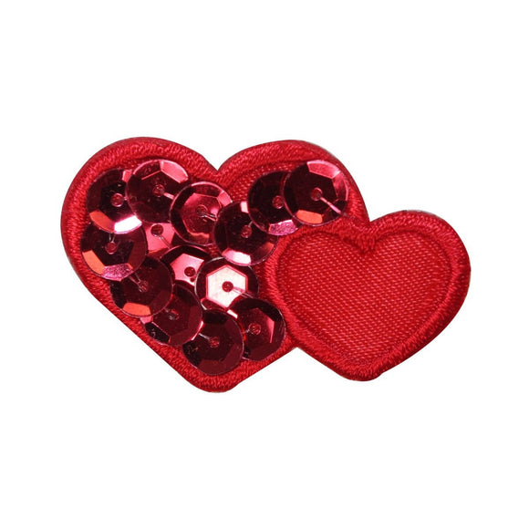 ID 3259B Sequin Hearts Patch Valentine Day Love Embroidered Iron On Applique