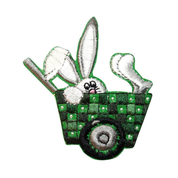 ID 3328 Easter Bunny In Basket Patch Rabbit Spring Embroidered Iron On Applique