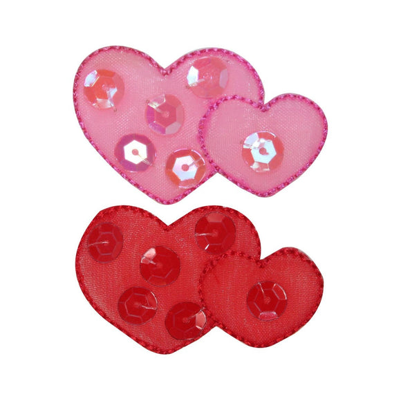 ID 3264AB Set of 2 Lace Sequins Heart Patches Valentine's Day Iron On Applique