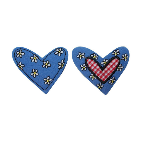 ID 3266AB Set of 2 Felt Floral Heart Patches Love Embroidered Iron On Applique