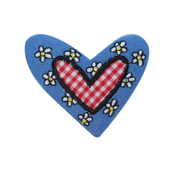 ID 3266B Daisy Covered Heart Patch Valentine Felt Embroidered Iron On Applique