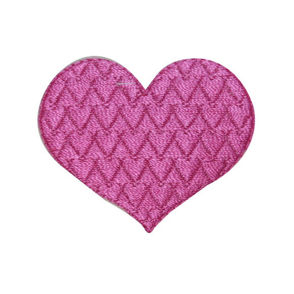 ID 3267A Textured Heart Patch Valentines Day Love Embroidered Iron On Applique