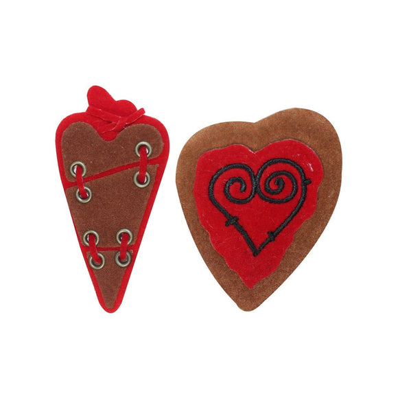 ID 3271AB Set of 2 Soft Heart Patches Valentines Day Love Felt Sew On Applique