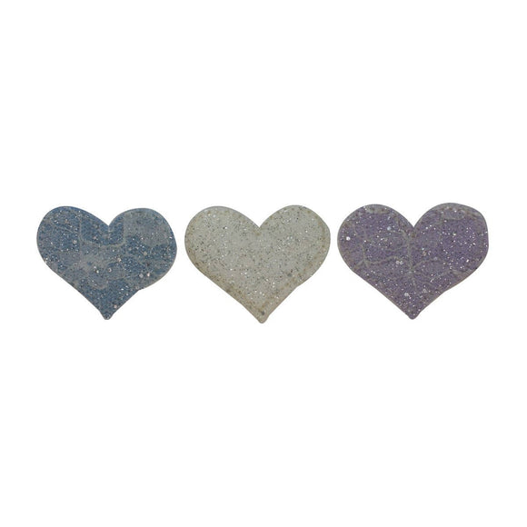 ID 3277ABC Set of 3 Sparkle Heart Patches Valentines Day Love Iron On Applique