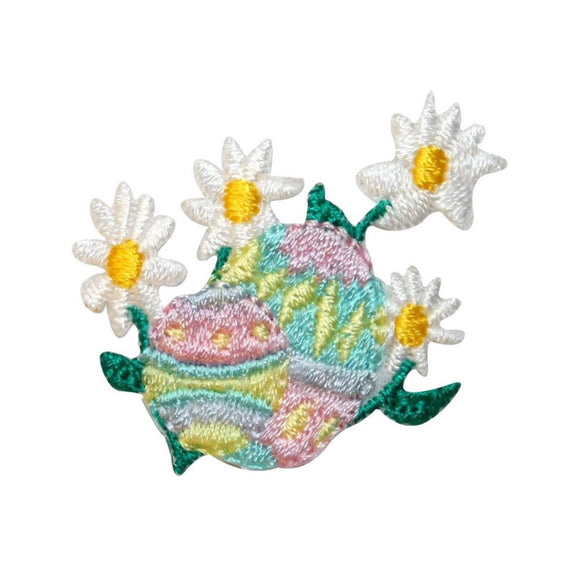 ID 3349 Easter Eggs With Daisy Patch Spring Holiday Embroidered Iron On Applique