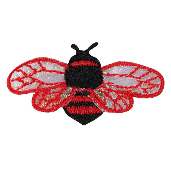 ID 1615C Bee Flying Patch Honey Wasp Colorful Bug Embroidered Iron On Applique