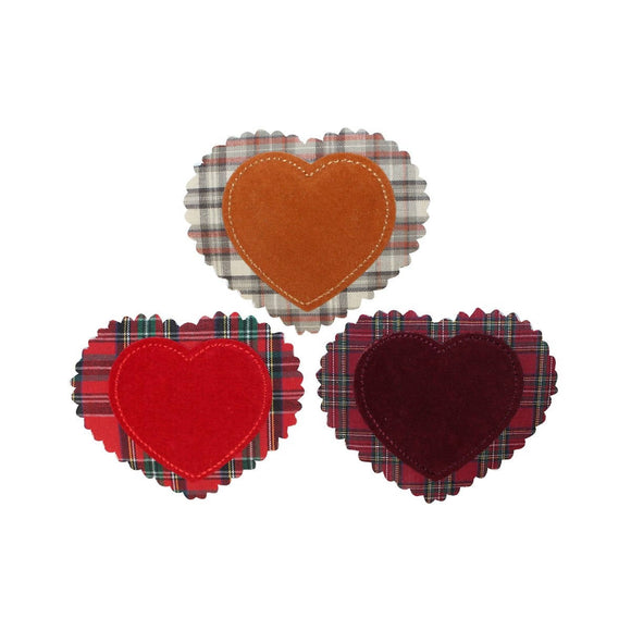 ID 3283ABC Set of 3 Felt Plaid Heart Patch Valentines Day Love Iron On Applique