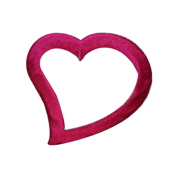 ID 3284C Heart Outline Patch Valentines Day Love Embroidered Iron On Applique