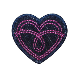 ID 3286B Jean Stitched Heart Patch Valentines Love Embroidered Iron On Applique