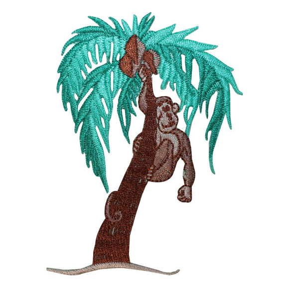 ID 1628C Monkey Climbing Tree Patch Jungle Animal Embroidered Iron On Applique