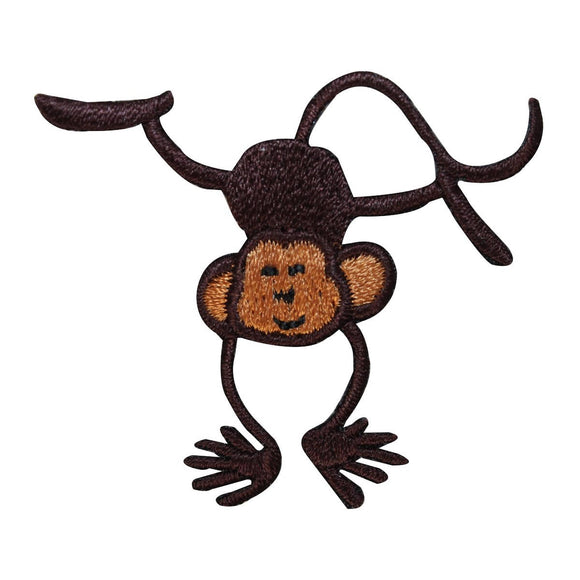 ID 1638C Happy Monkey Handstand Patch Wild Jungle Embroidered Iron On Applique