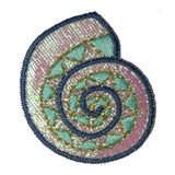 ID 1901 Shimmering Seashell Patch Ocean Shell Craft Embroidered Iron On Applique