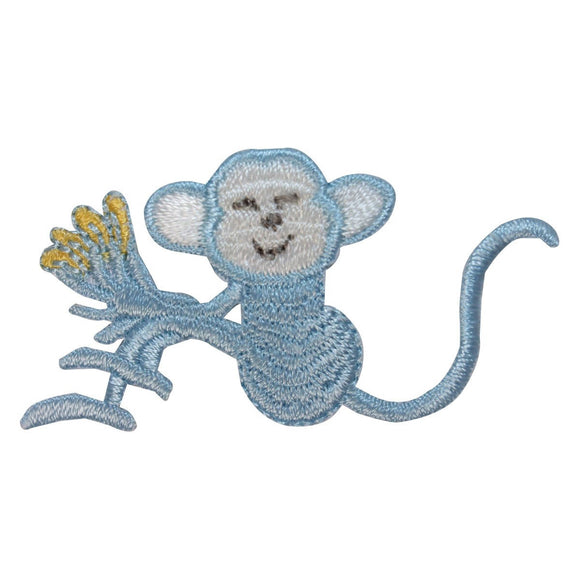 ID 1644D Happy Monkey With Bananas Patch Cute Chimp Embroidered Iron On Applique