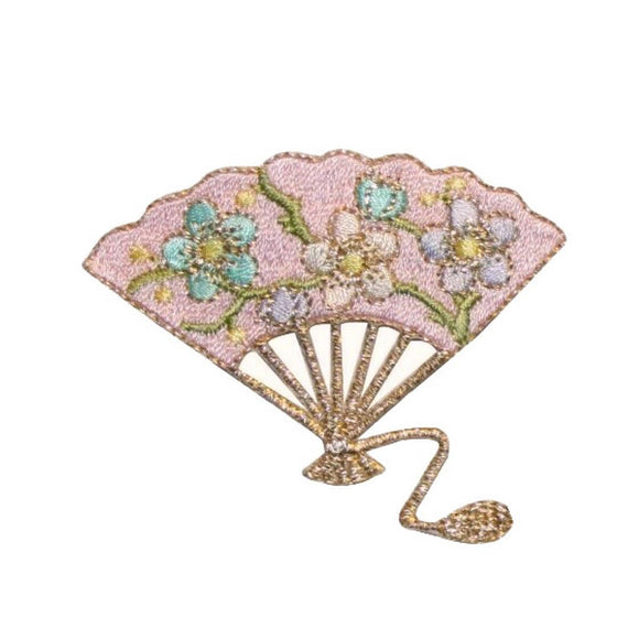 ID 3376A Floral Folding Fan Patch Fancy Dance Wind Embroidered Iron On Applique