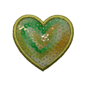 ID 3390 Sequin Heart Patch Valentines Day Love Sign Embroidered Iron On Applique