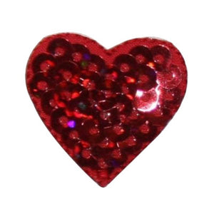 ID 3391 Sequin Red Heart Patch Valentine Love Symbol Embroidered IronOn Applique