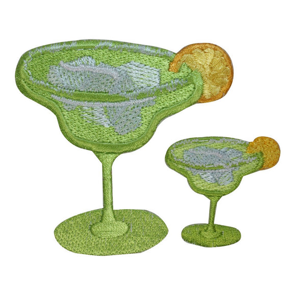 ID 1963AB Set of 2 Margarita Lemon Patches Drink Embroidered Iron On Applique