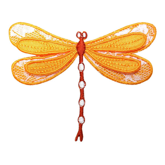 ID 1691 Golden Dragonfly Patch Garden Fairy Bug Embroidered Iron On Applique