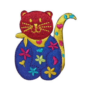 ID 2928 Multi Colored Cat Patch Happy Kitten Pet Embroidered Iron On Applique