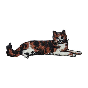 ID 3020 Calico Cat Laying Down Patch Kitten Kitty Embroidered Iron On Applique