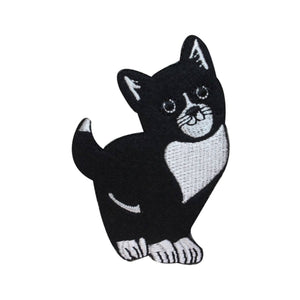 ID 3024 Cute Black and White Cat Patch Kitty Kitten Embroidered Iron On Applique