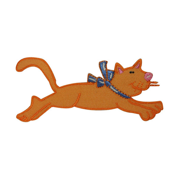 ID 3027 Cartoon Cat Jumping Patch Kitten Kitty Pet Embroidered Iron On Applique